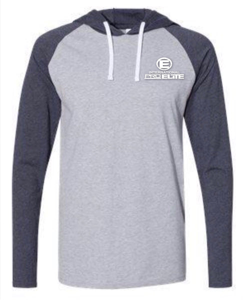 *New- International Pro Elite (IPE) Mens Pullover Lightweight Hoodie - Heather Navy/Grey