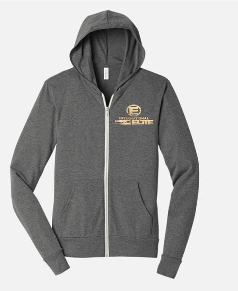 *New- International Pro Elite (IPE) Unitsex Tri-blend Full-Zip Lightweight Hoodie - Grey with Gold Foil Logo