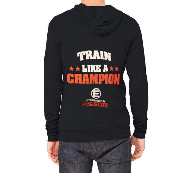 *New * ALL size is back in stock - International Pro Elite (IPE) Train Like A Champion Tri-blend Full-Zip Lightweight Hoodie - Black with Red/White Logo