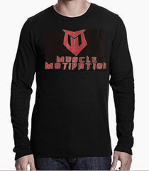 Men's Muscle Motivation Thermal Long Sleeve Shirt - Black/Red Logo
