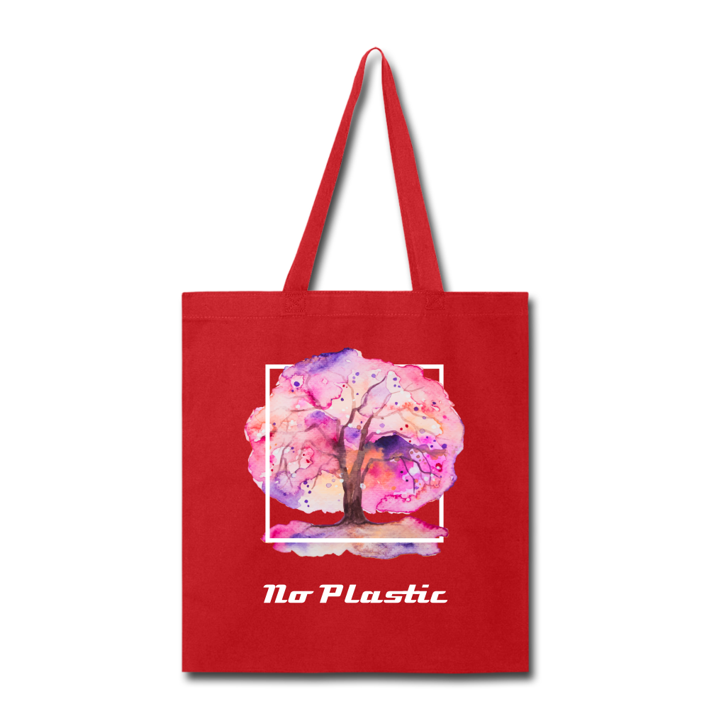 No Plastic Tote Bag - red
