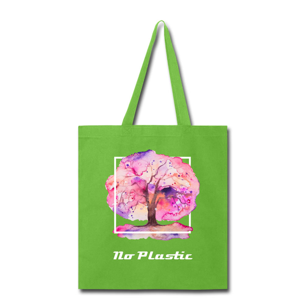 No Plastic Tote Bag - lime green