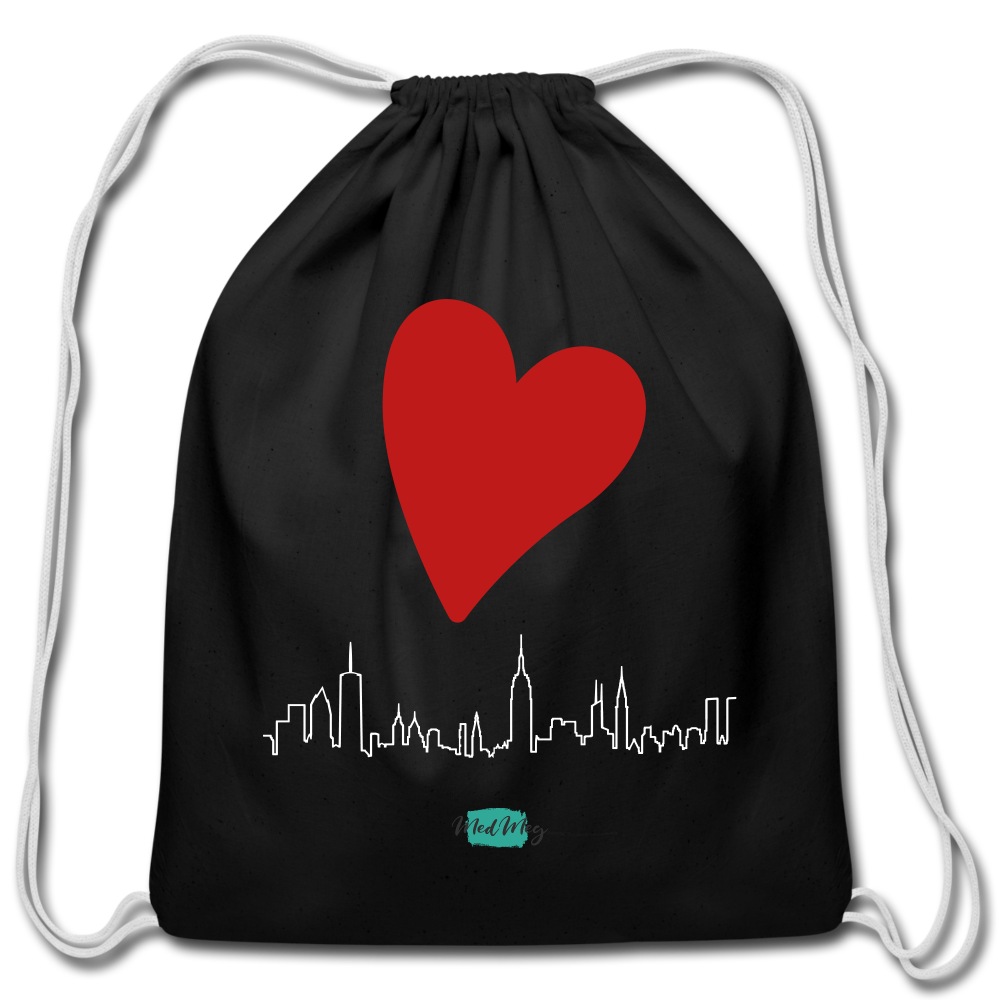 Love Travel Cotton Drawstring Bag - black