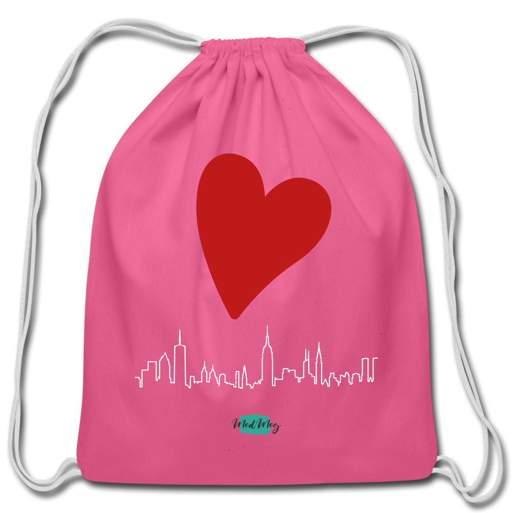 Love Travel Cotton Drawstring Bag - pink