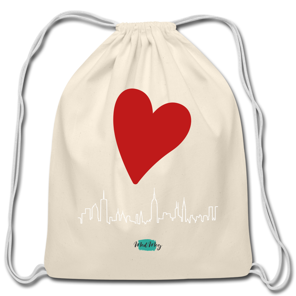 Love Travel Cotton Drawstring Bag - natural