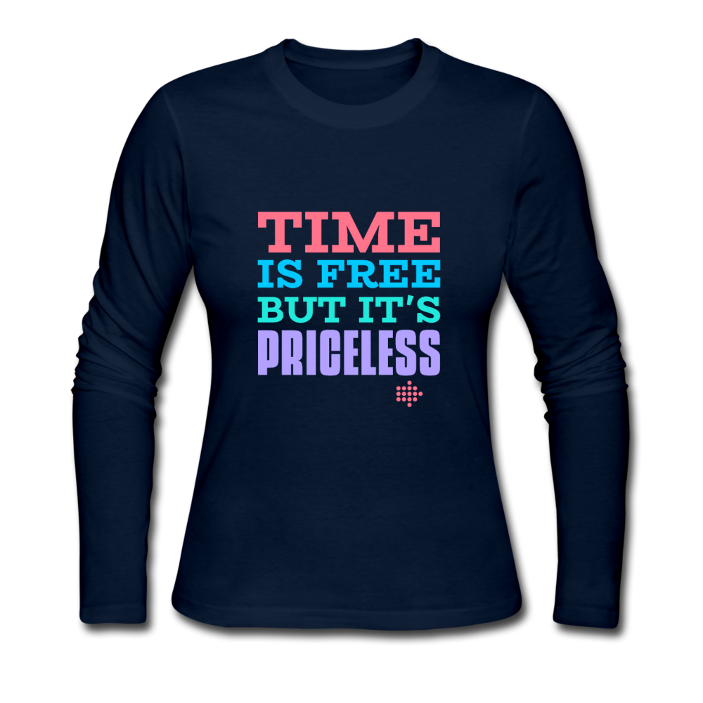 Time is free Women's Long Sleeve Jersey T-Shirt - navy