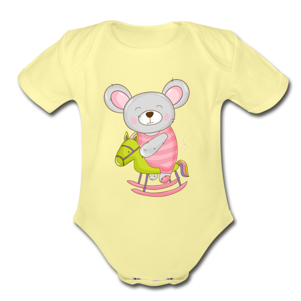 Cute Organic Short Sleeve Baby Bodysuit - washed yellow