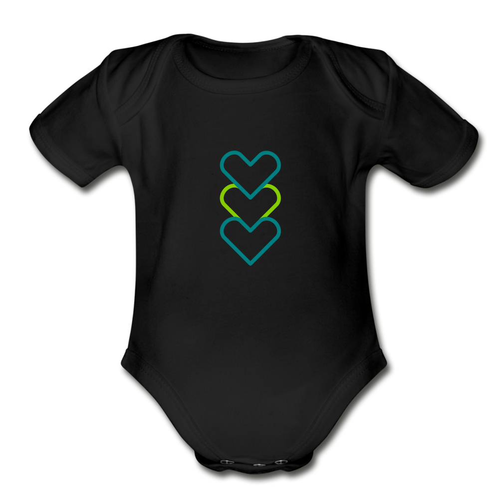 Hearty Organic Short Sleeve Baby Bodysuit - black