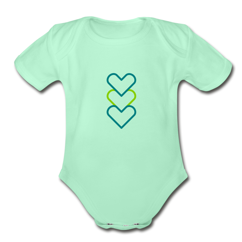 Hearty Organic Short Sleeve Baby Bodysuit - light mint