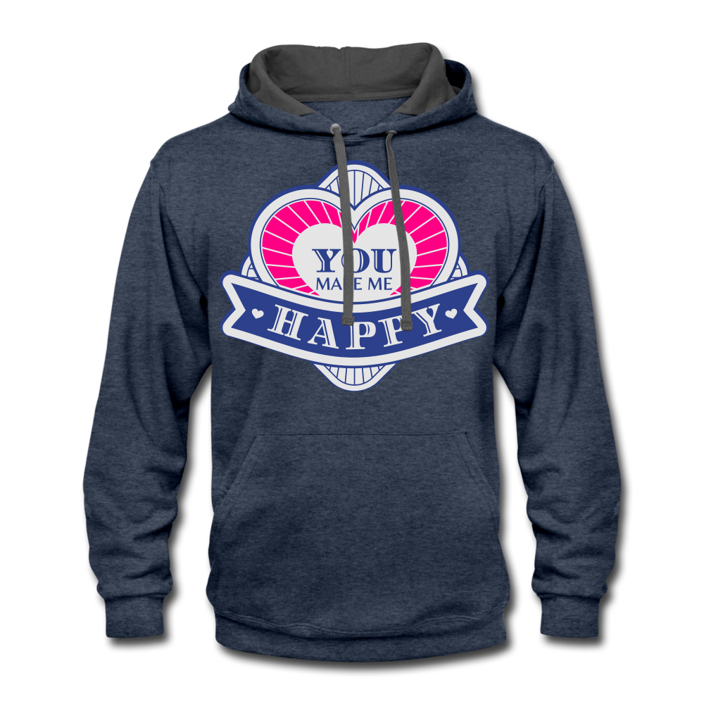 You Make Me Happy Contrast Hoodie