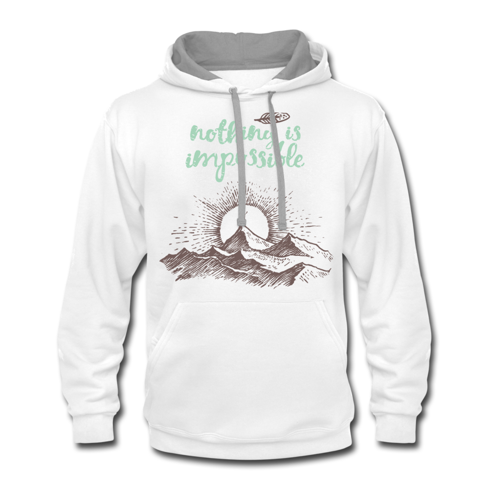 Nothing is Impossible Contrast Hoodie - white/gray