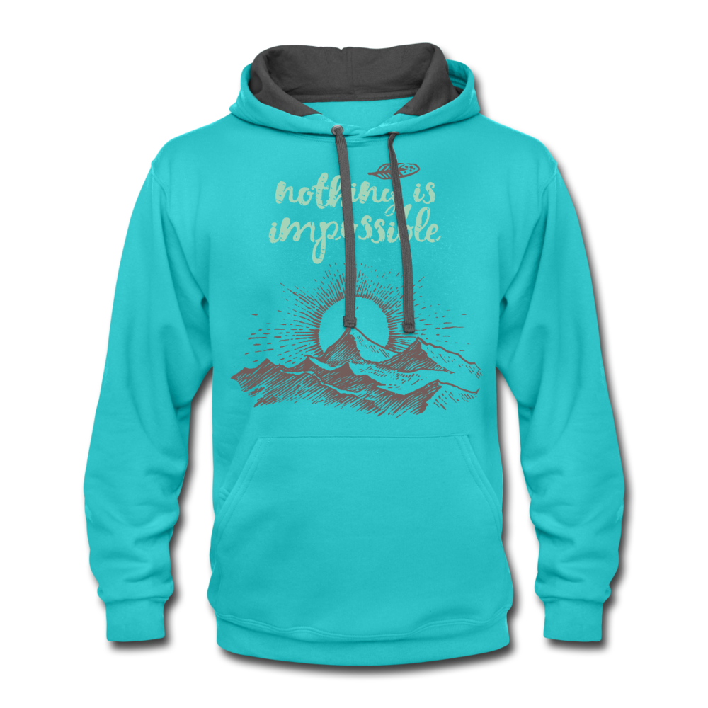 Nothing is Impossible Contrast Hoodie - scuba blue/asphalt