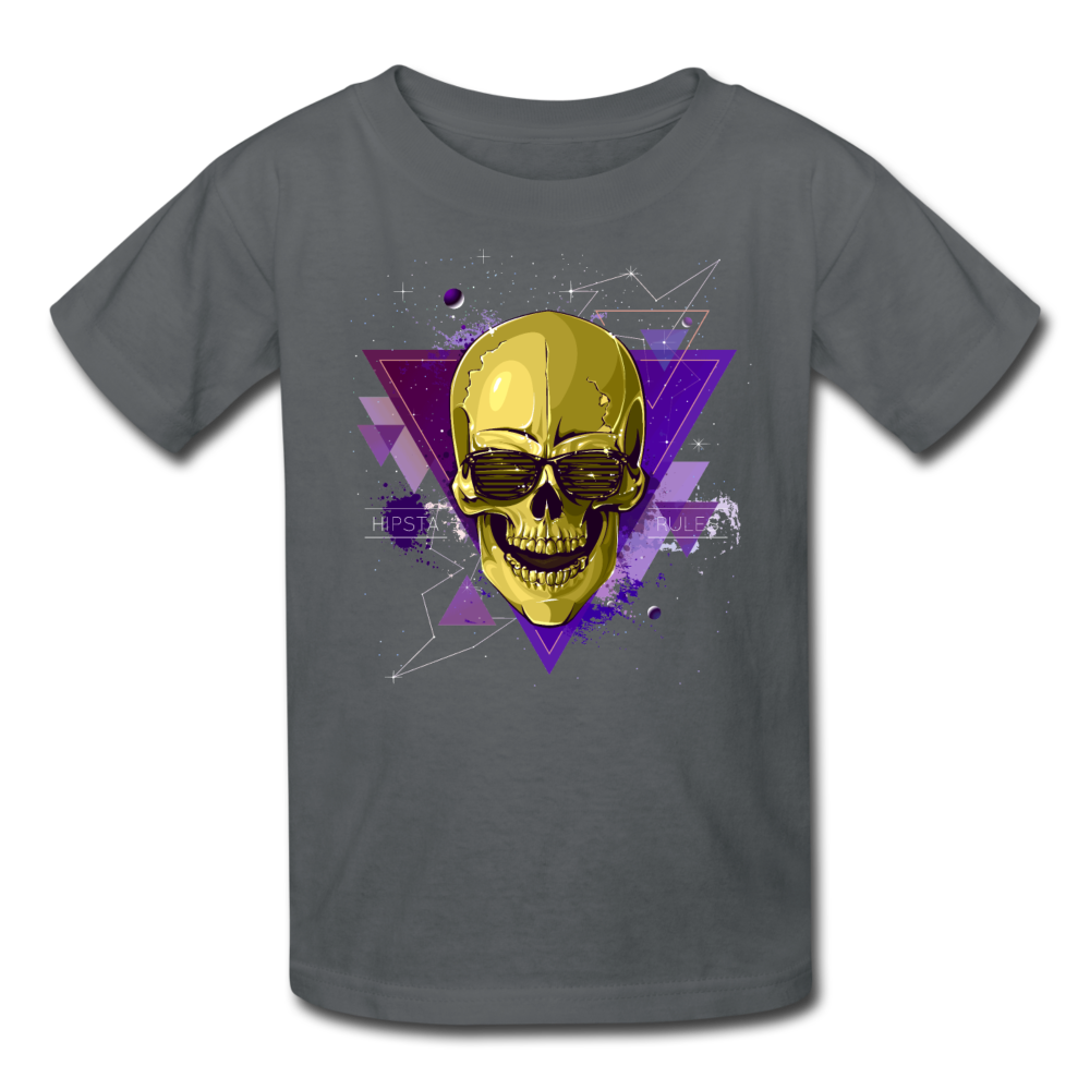 Digital Skull Kids' T-Shirt - charcoal