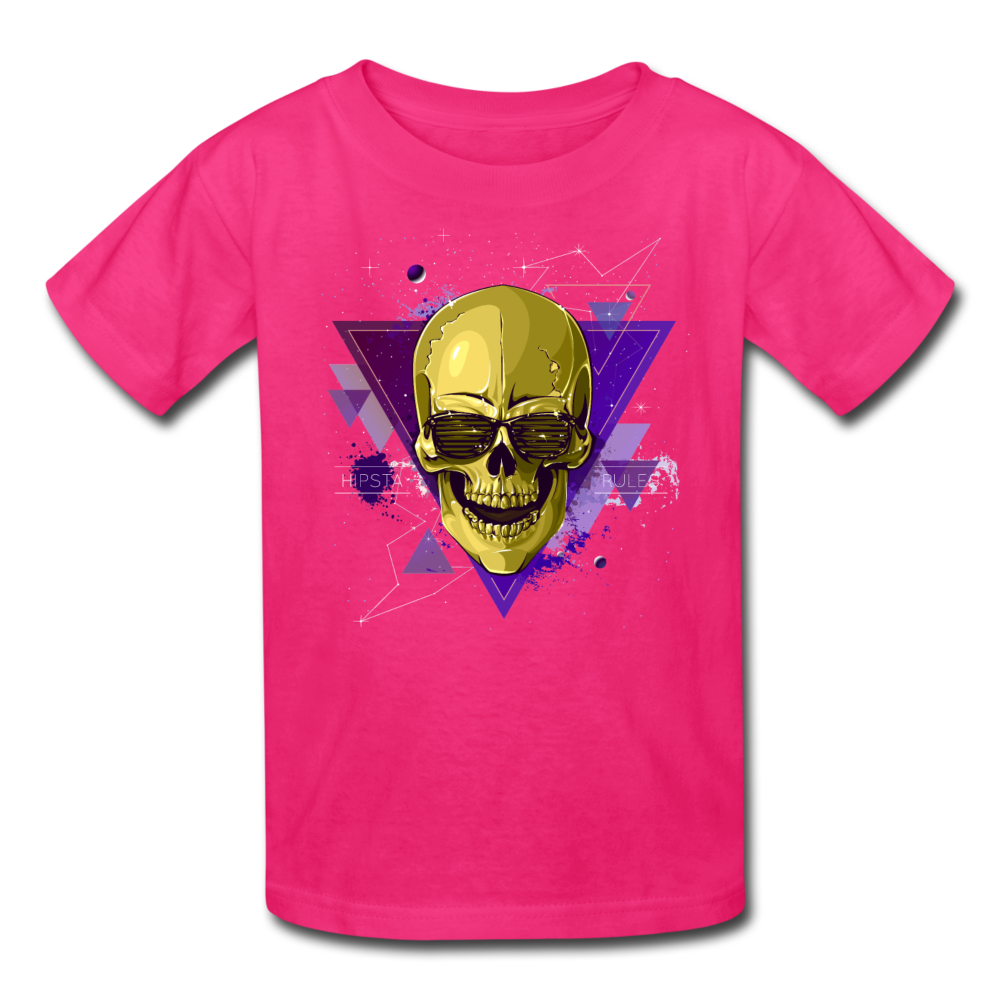 Digital Skull Kids' T-Shirt - fuchsia