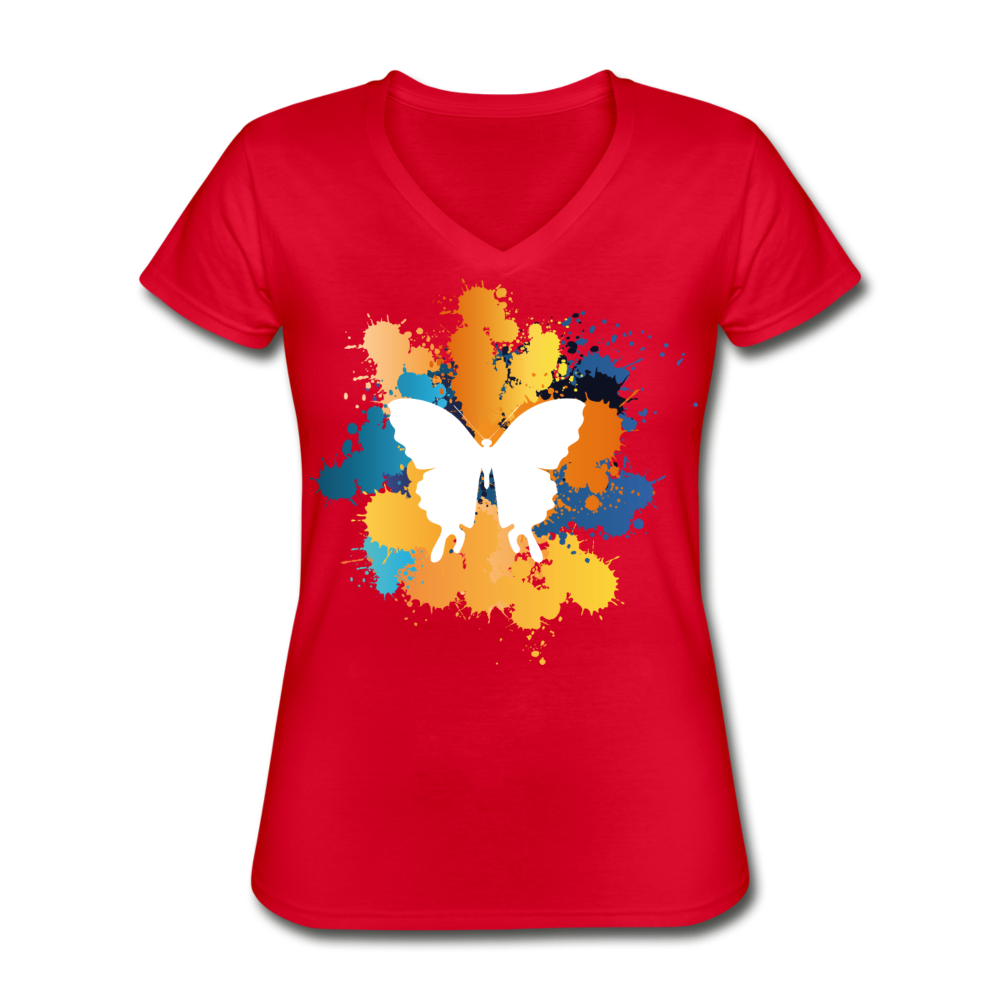 Color Fly Women's V-Neck T-Shirt - red