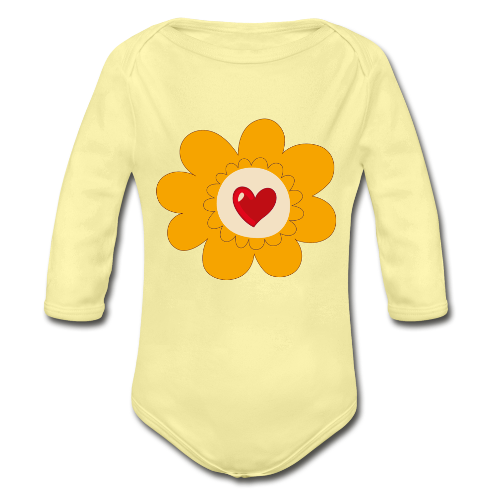 Spring Organic Long Sleeve Baby Bodysuit - washed yellow