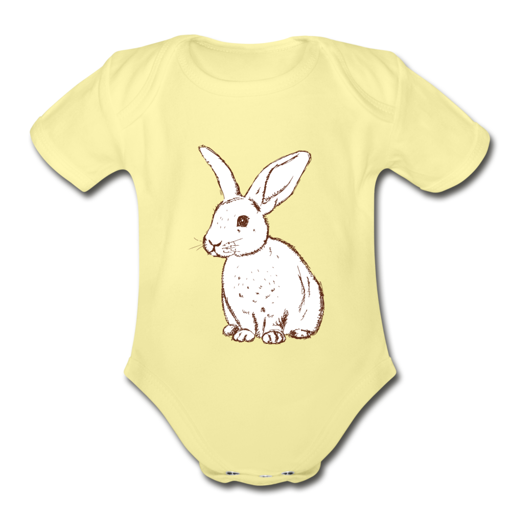 Bunny Organic Short Sleeve Baby Bodysuit - washed yellow