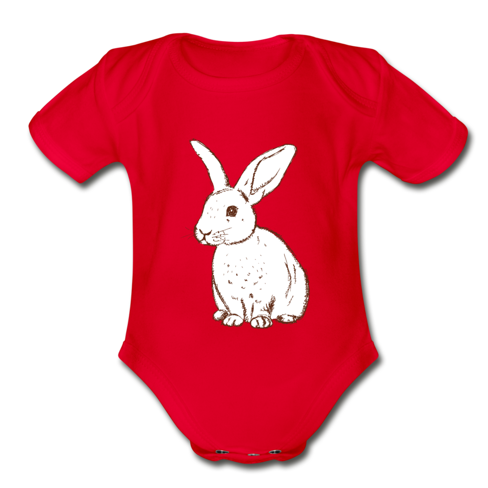 Bunny Organic Short Sleeve Baby Bodysuit - red