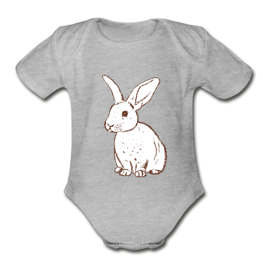 Bunny Organic Short Sleeve Baby Bodysuit - heather gray