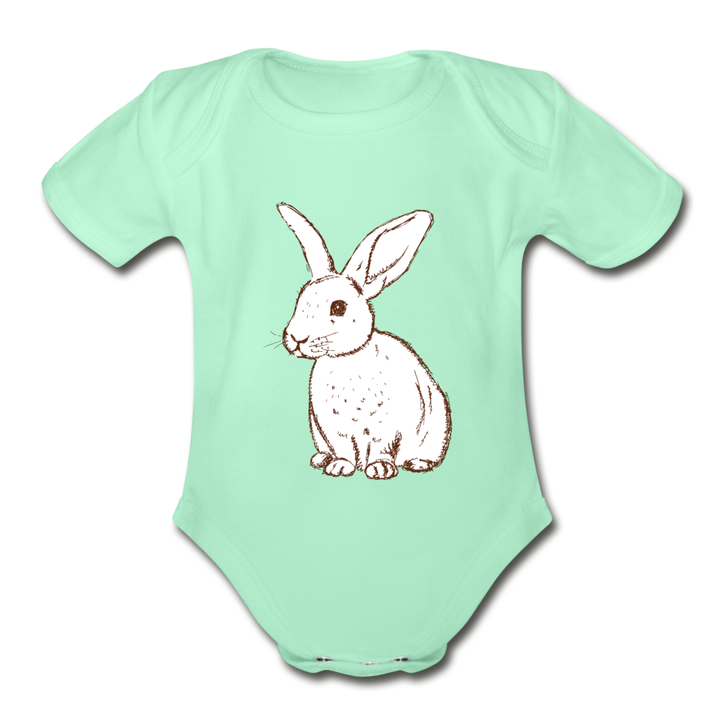 Bunny Organic Short Sleeve Baby Bodysuit - light mint