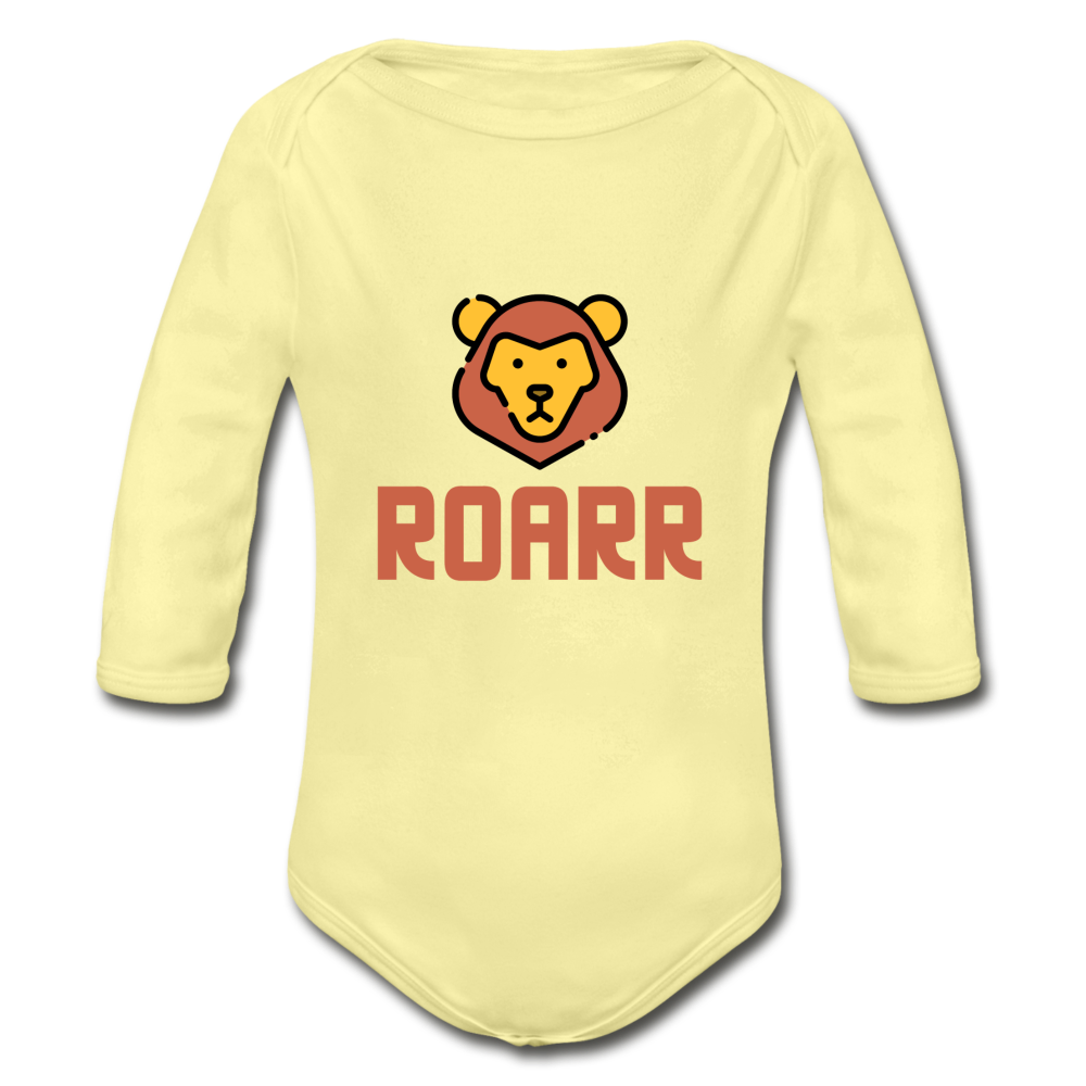 Roar Organic Long Sleeve Baby Bodysuit - washed yellow