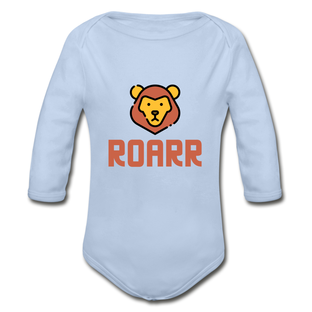 Roar Organic Long Sleeve Baby Bodysuit - sky