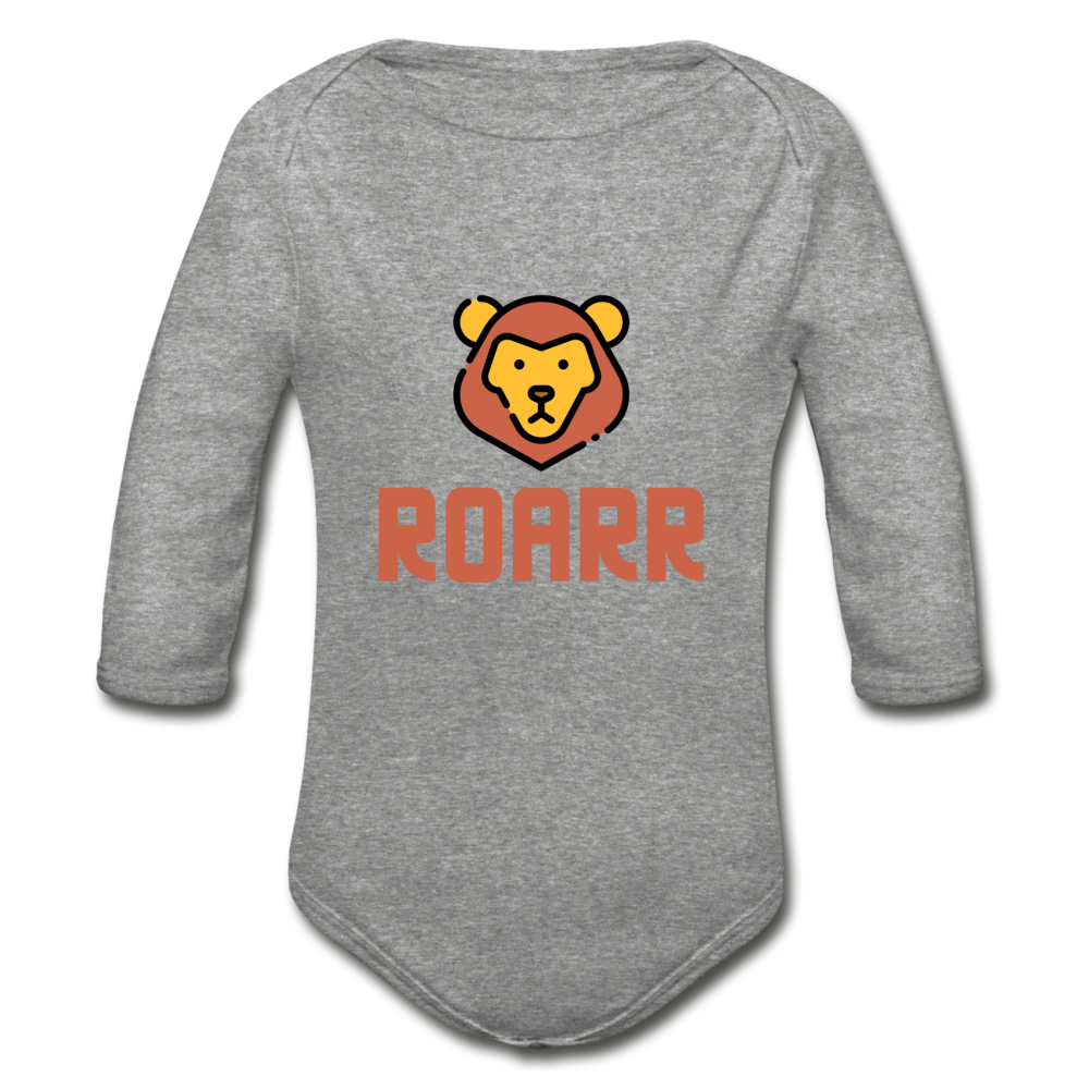 Roar Organic Long Sleeve Baby Bodysuit - heather gray