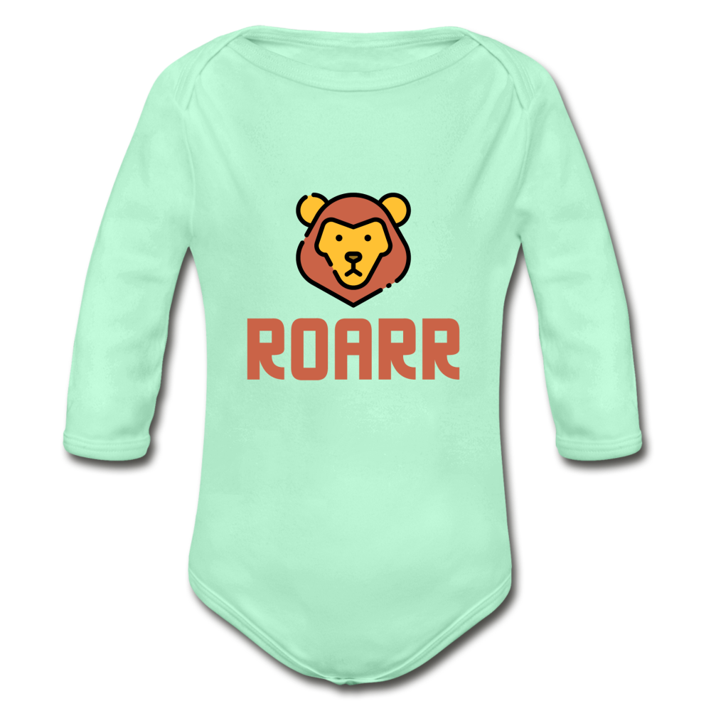 Roar Organic Long Sleeve Baby Bodysuit - light mint