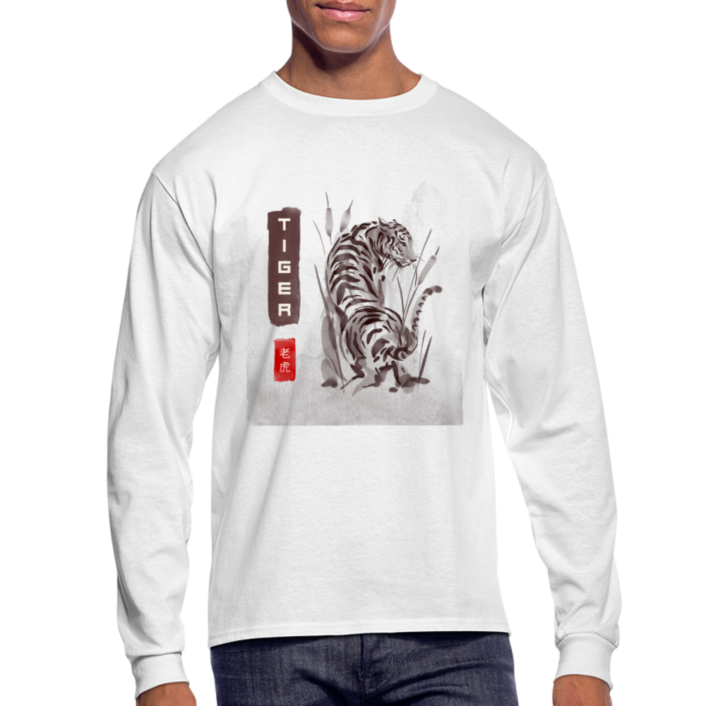 Tiger Men's Long Sleeve T-Shirt - white