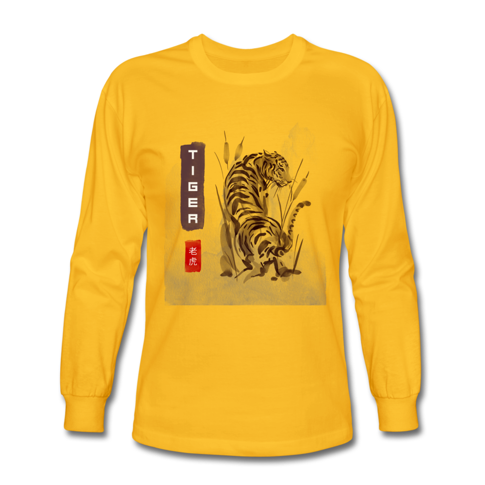 Tiger Men's Long Sleeve T-Shirt - gold