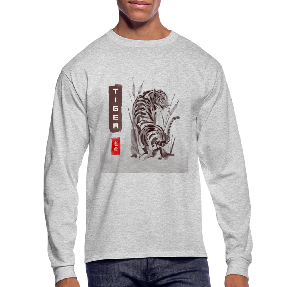 Tiger Men's Long Sleeve T-Shirt - heather gray