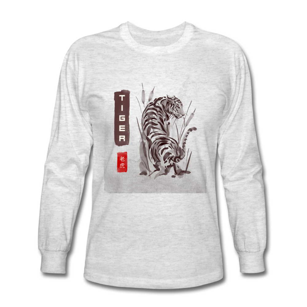 Tiger Men's Long Sleeve T-Shirt - light heather gray