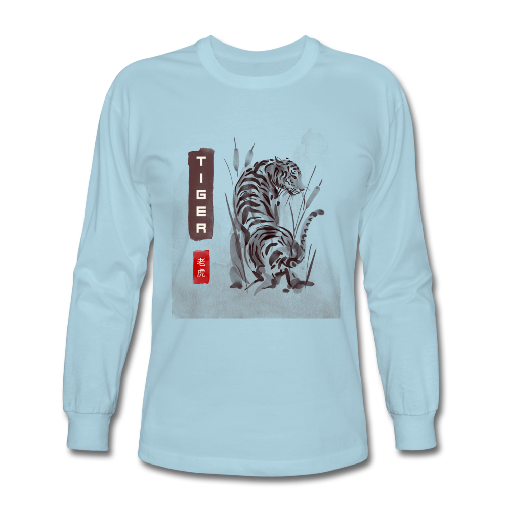 Tiger Men's Long Sleeve T-Shirt - powder blue