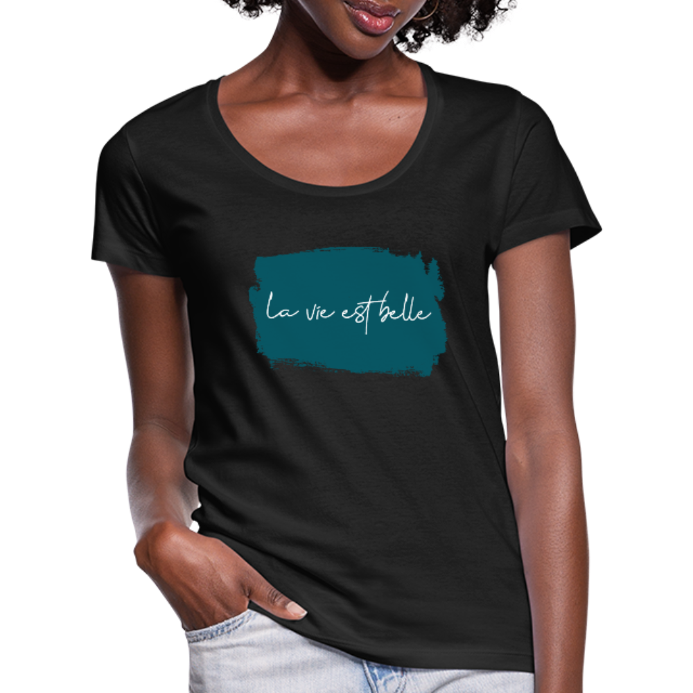 La vie est belle Women's Scoop Neck T-Shirt - black