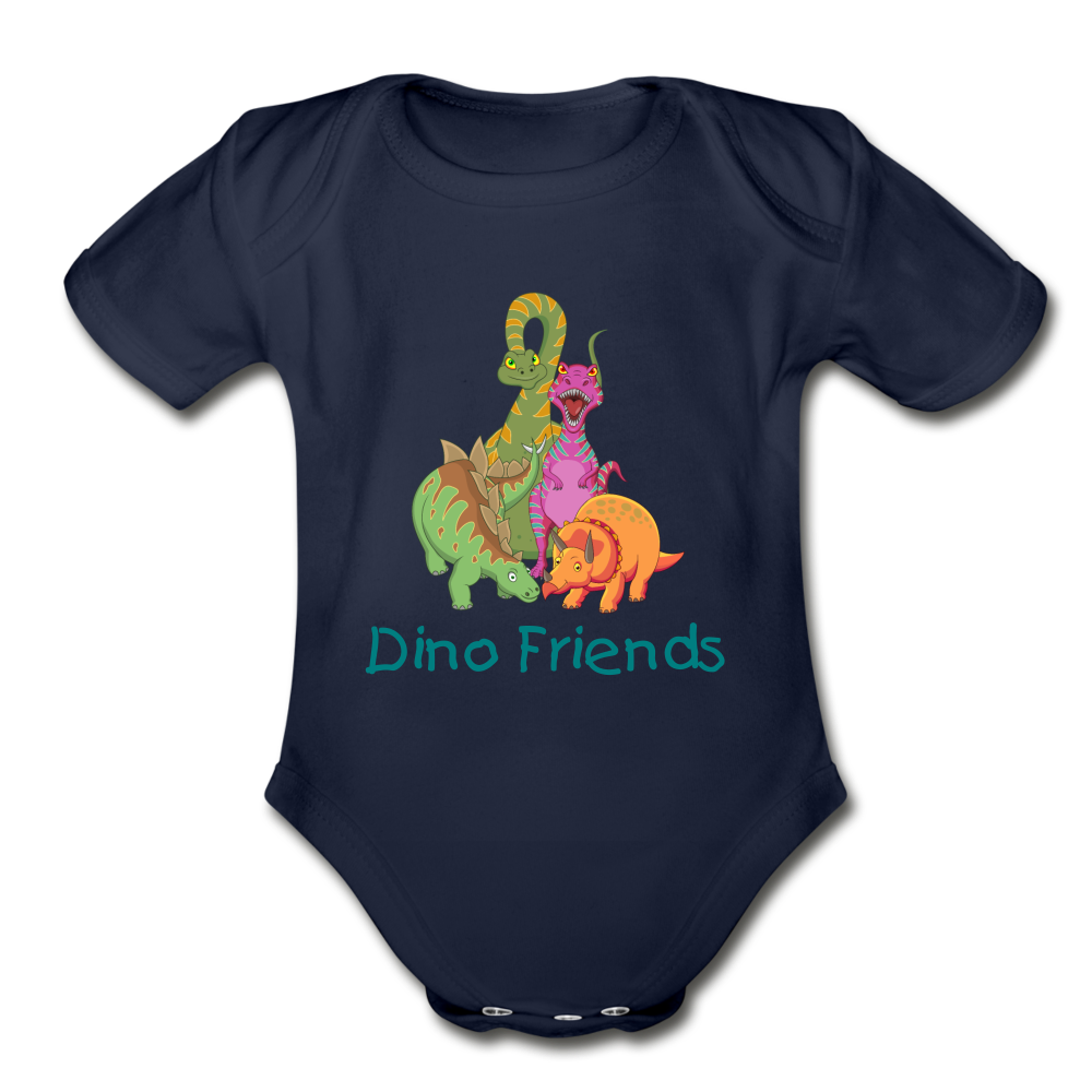 Dino Friends Organic Short Sleeve Baby Bodysuit