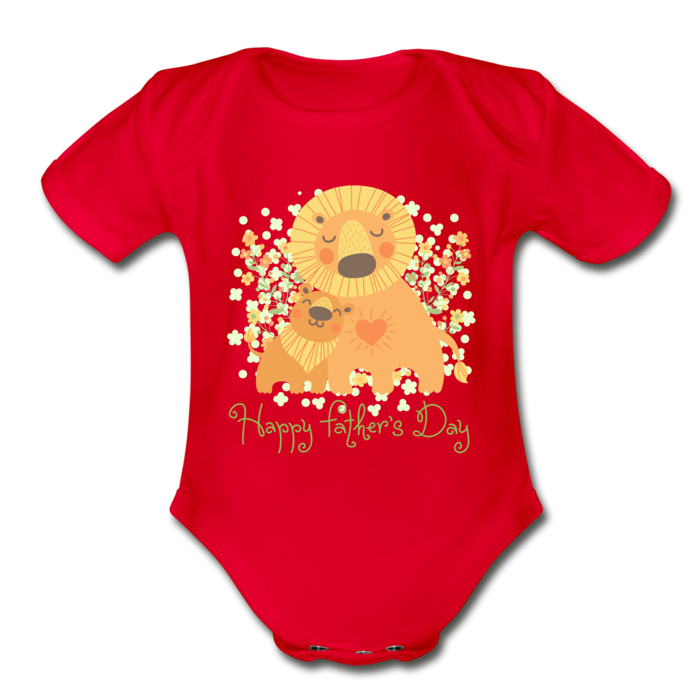 Father's Day Organic Short Sleeve Baby Bodysuit - red
