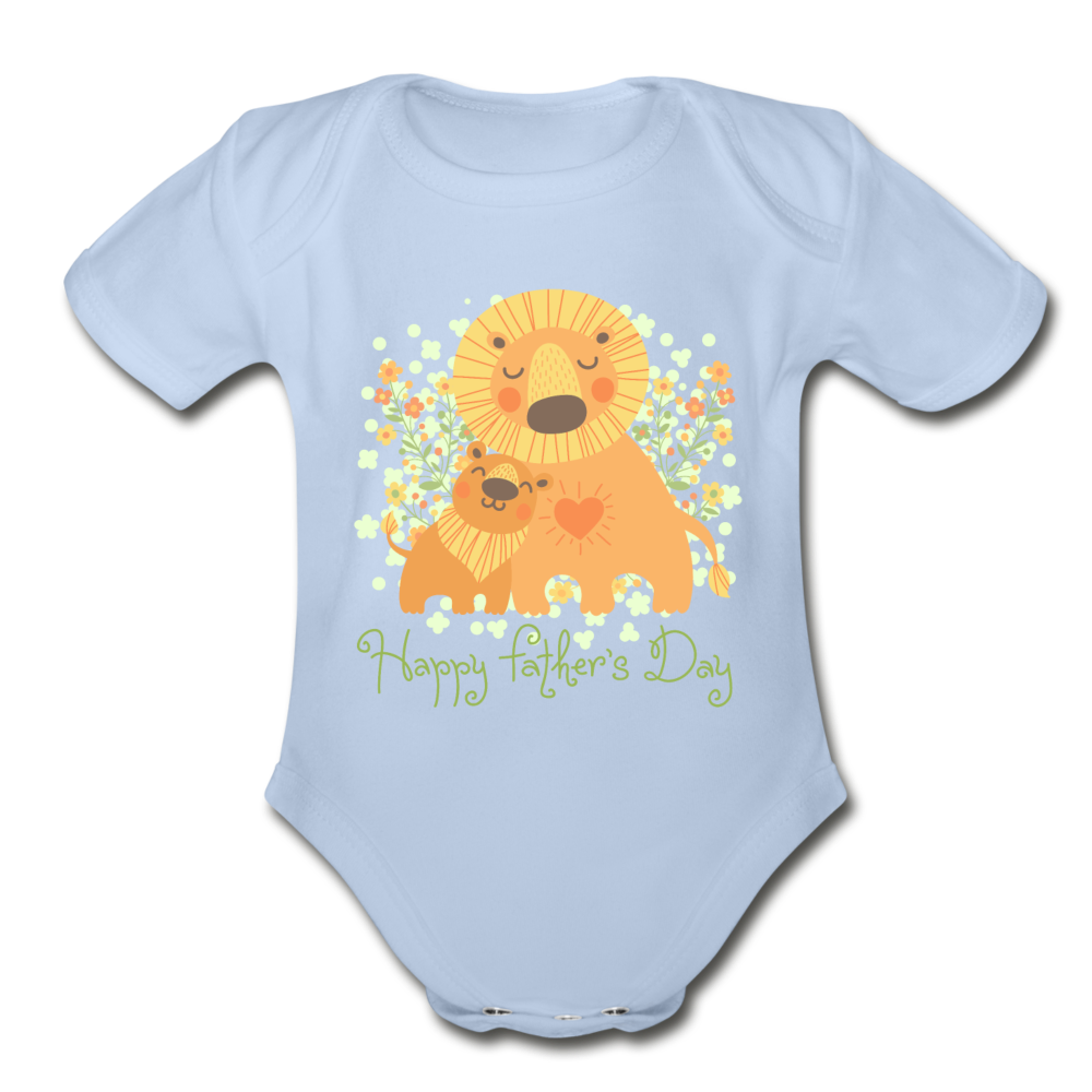 Father's Day Organic Short Sleeve Baby Bodysuit - sky