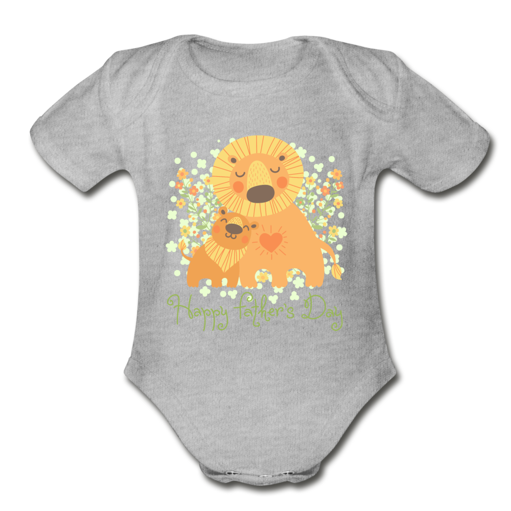 Father's Day Organic Short Sleeve Baby Bodysuit - heather gray