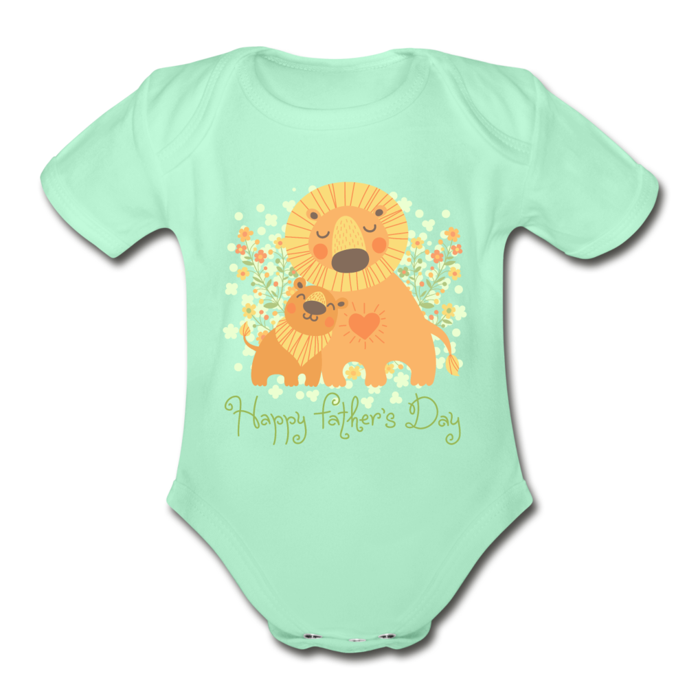 Father's Day Organic Short Sleeve Baby Bodysuit - light mint