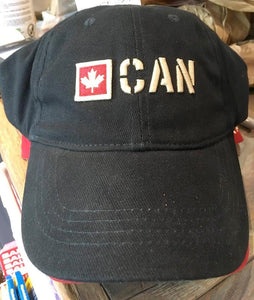 Ball Cap, Vintage Canadiana Logo, Canadian Maple Leaf in Square, Black - Two Hoots Gift Gallery