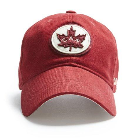 Ball Cap, Vintage Canadiana Logo, Canadian Maple Leaf, Red - Two Hoots Gift Gallery