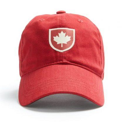 Ball Cap, Vintage Canadiana Logo, Canadian Shield, Red - Two Hoots Gift Gallery