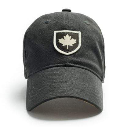 Ball Cap, Vintage Canadiana Logo, Canadian Shield, Slate Grey - Two Hoots Gift Gallery