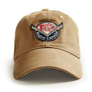 Ball Cap, Vintage Canadiana Logo, CBC Radio Canada, Tan - Two Hoots Gift Gallery