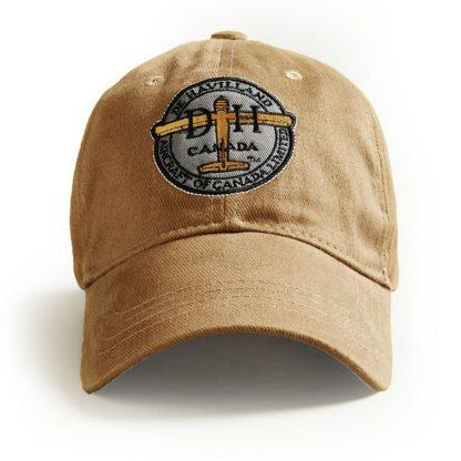 Ball Cap, Vintage Canadiana Logo, deHavilland Aircraft of Canada, Tan - Two Hoots Gift Gallery