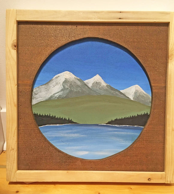 B.C. Coastal Scene, Hand-Painted on Wood, Wood Matted and Framed,