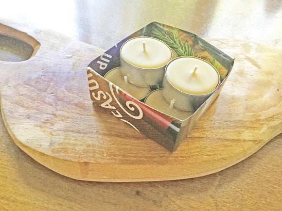 Beeswax Candles, Traditional Tealight 6-Pack, small votives - Two Hoots Gift Gallery