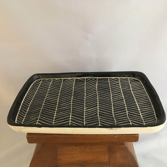 Black & White Pottery, Large Rectagular Serving Dish, Herringbone Detail - Two Hoots Gift Gallery