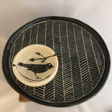 Black & White Pottery, Large Round Serving Platter, Herringbone Detail - Two Hoots Gift Gallery