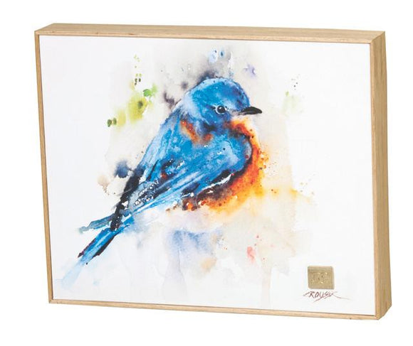 Bluebird Framed Canvas Print by Dean Crouser, approx 8